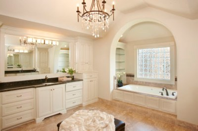Master bath with white enamel cabinets