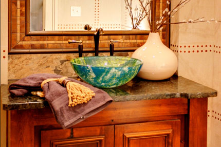Design style continues to the half bath of the Larsen II model home in Wyngate