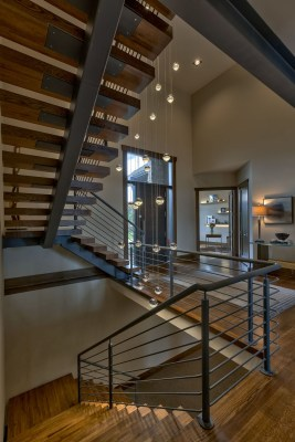 Floating staircase of custom build job home
