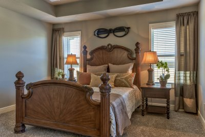 Weston III master bedroom with poster bed