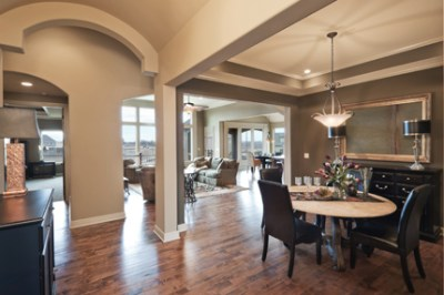 Windsor dining room with barrel ceiling entryway