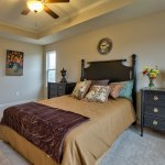 Destin master bedroom with vaulted ceiling