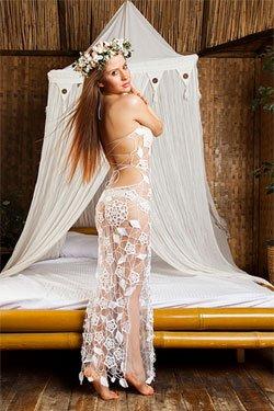 Купить пляжное свадебное платье ручной работы