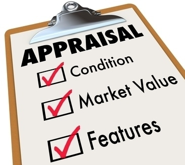 Appraisal word on a clipboard checklist with major assessment factors including condition, market value and features