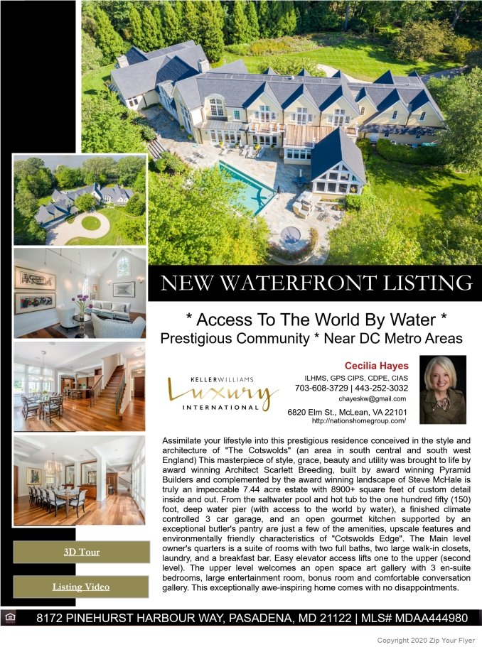 * Access To The World By Water * Prestigious Community * Near DC Metro Areas