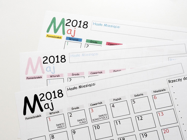 Darmowy planner do druku- kalendarz MAJ 2018