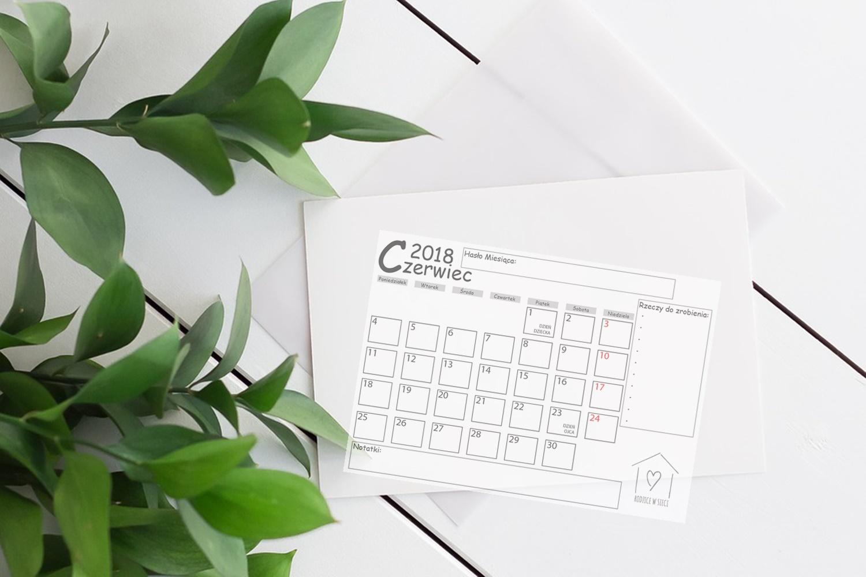 Darmowy kalendarz do druku CZERWIEC 2018