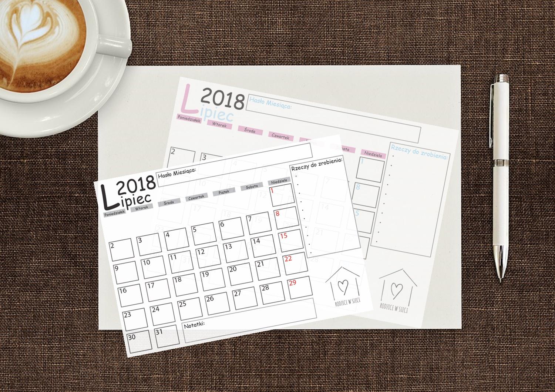 Darmowy kalendarz do druku- planner na lipiec 2018