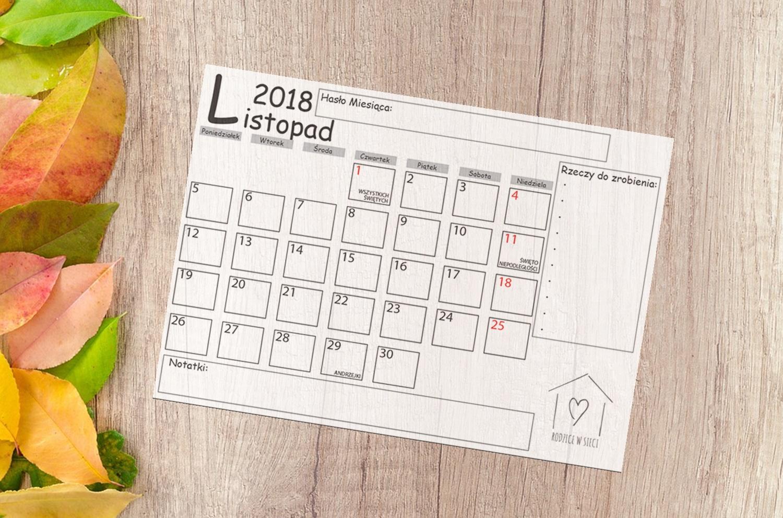 Darmowe kalendarze do druku- LISTOPAD 2018