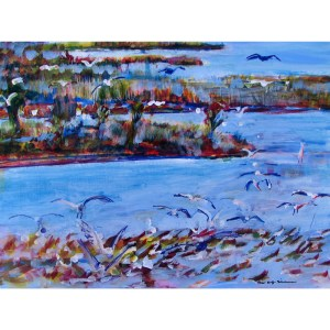 Birds in Flight-Salt Marsh