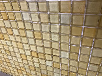 Backsplash glass tile, not yet grouted