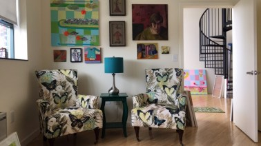 chairs and paintings