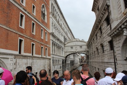 After disembarking from our ship we walked over a few bridges towards the San Marco square.