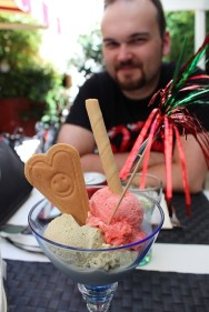 The heat was killing us, so we got ourselves some smiley gelato.