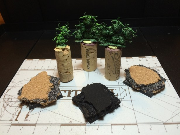 """WIP for test mound! Planning to heavily drybrush the """"rocks"""" with pale greys and whites, then shade down with all sorts of browns and greens. Delicious."""