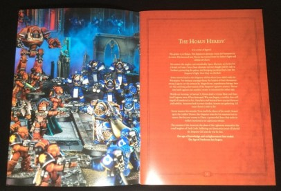 The first page has a nice shot of an example gameplay and has the opening fluff text of all Horus Heresy novels.