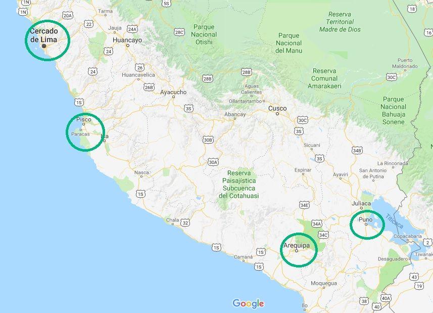 mapa peru arequipa