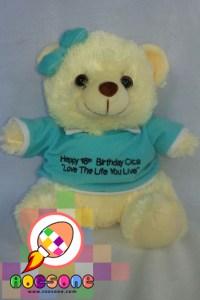 Boneka Teddy Custom Tulisan dan Baju Ulang Tahun