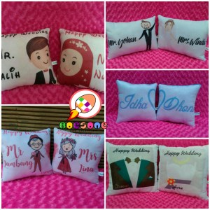 Produsen Bantal Print Souvenir Wedding Unik