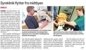 Århus Onsdag den 21.juni: Efter mere end 8 årtier med dyreklinik i Aarhus centrum lukker dyreklinikken i Vester Allé nr. 6.