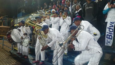 JIVE: The Bidvest Wits Brass Band was keeping the the soccer fans who, like me braved the cold and came to watch the game. They played a variety of music which included old favourites and popular tunes. They played with great life and enthusiasm. Photo: Rofhiwa Madzena