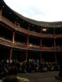 Inside the Globe as the audience begins to shuffle in.