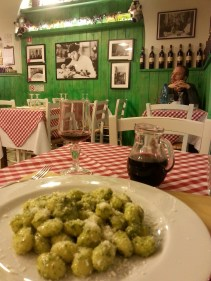 My 'final supper' in Rome. Gnocchi with a house pesto at Hosteria la Vacca M'Briaca ('The Drunken Cow') in Monti