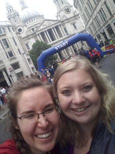 """with Zoe (friend, taking her first international holiday!) -- after the London Mile """"I'll be your cheerleader!"""""""