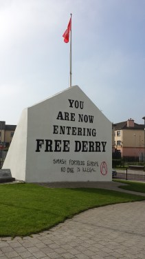 Free Derry mural in the city of Derry. The mural declared the neighborhood to be autonomous during the Northern Ireland conflict and was also the site of the Bloody Sunday massacre.