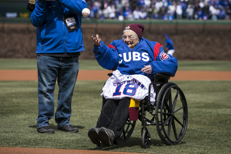 Watch Loyola's Sister Jean Throw Out First Pitch At Cubs Home Opener