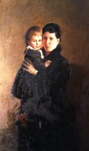 Leo Tolstoy's wife Sofia with daughter Aleksandra; portrait by Nikolay Ge, 1886