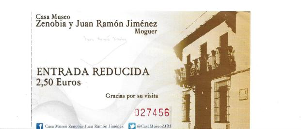 ticket for entrance to the Casa-Museo Zenobia y Juan Ramón Jiménez
