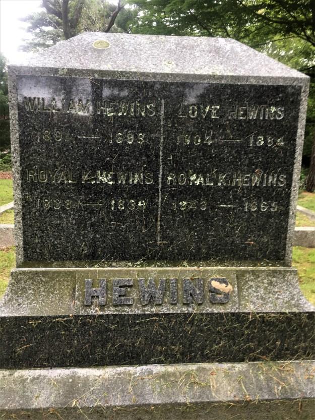 grave of William and Love Hewins et al..jpg