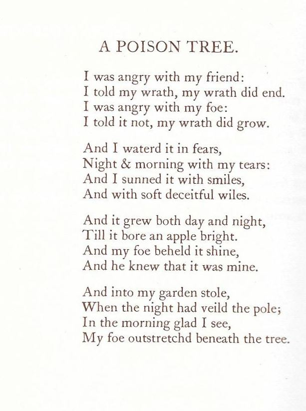 """William Blake, """"A Poison Tree"""" 