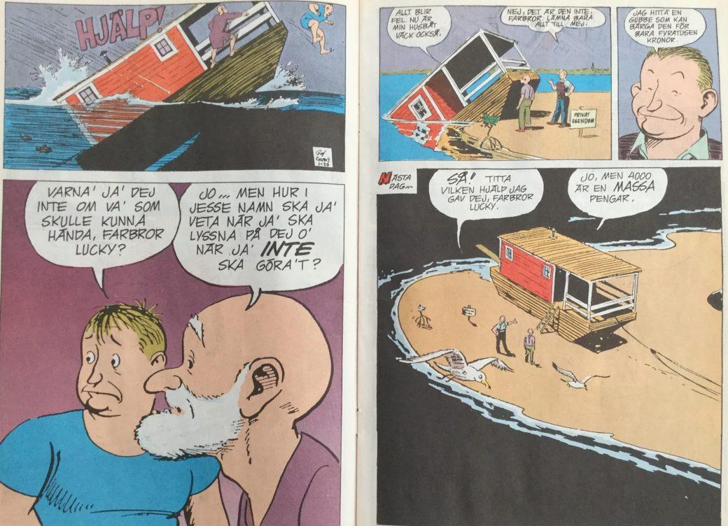 Uppslag ur Buz Sawyer och Rosco Sweeney som seriebilaga i SeriePressen nr 7, 1993