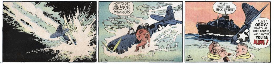 Piloten Sawyer räddas av skytten Sweeney