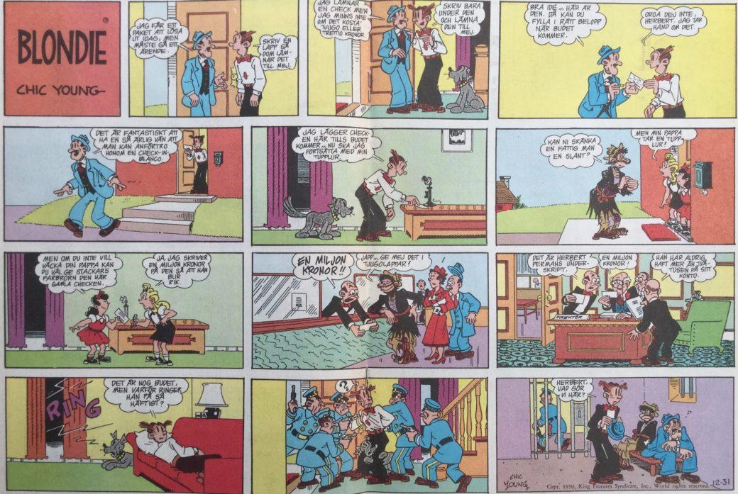 Söndagssida med Blondie från 31 december 1950, ur SeriePressen nr 9, 1993