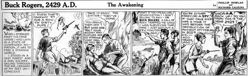 Den andra Buck Rogers-strippen från den 8 januari 1929