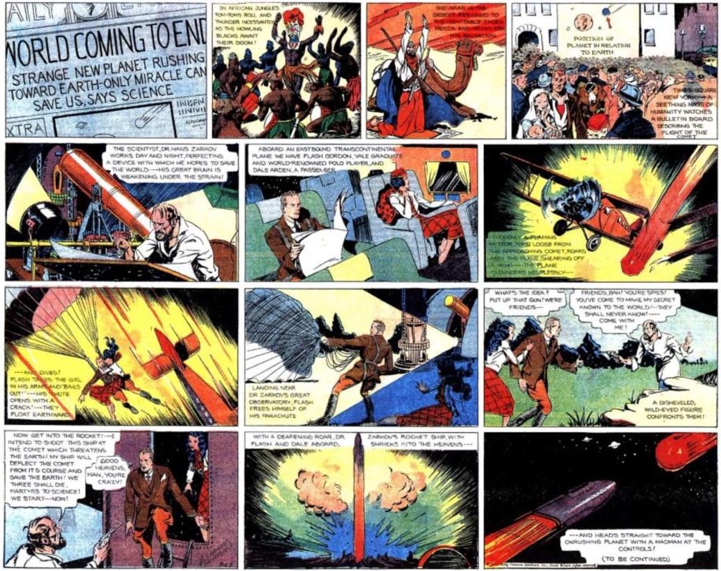 Den första söndagssidan med Flash Gordon från den 7 januari 1934