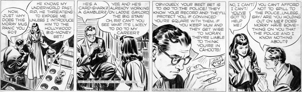 En Rip Kirby-stripp från 29 mars 1947