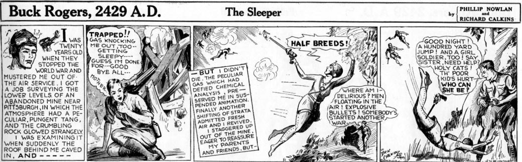 Den första Buck Rogers-strippen från den 7 januari 1929