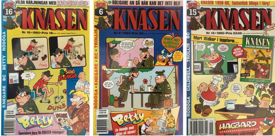 Tre nummer av Knasen från 1993, 1994, och 1995