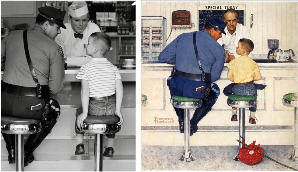 The Runaway, omslag till the Post 20 september 1958, är ett exempel på Rockwells fotorealism