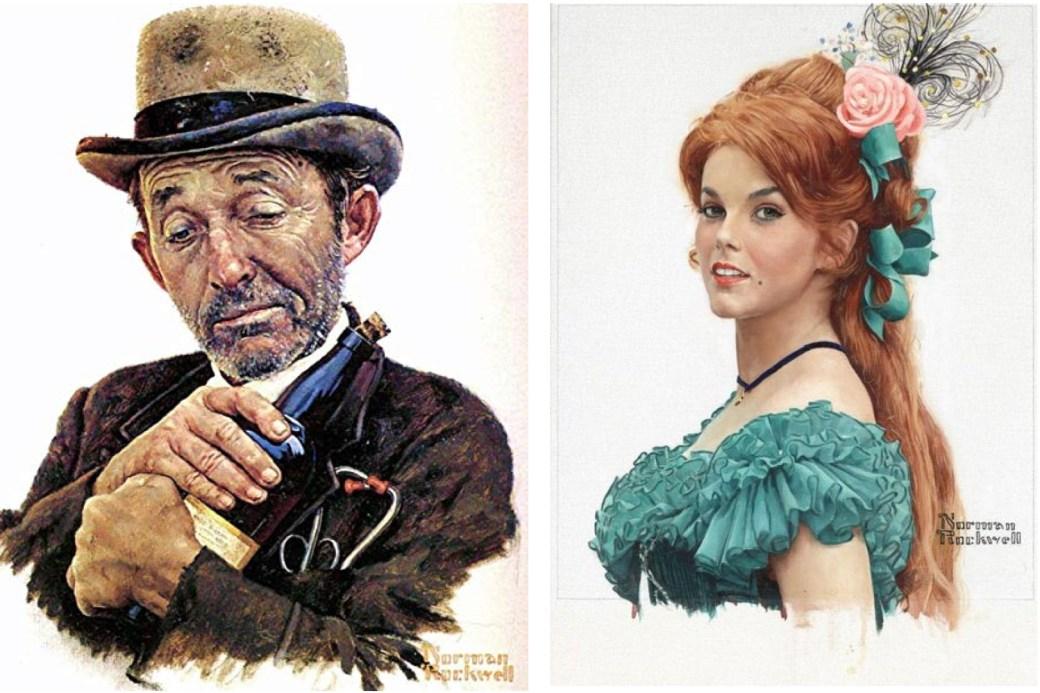 Norman Rockwells tolkning av två skådespelare i filmen Stagecoach 1960, Bing Crosby och Ann-Margret