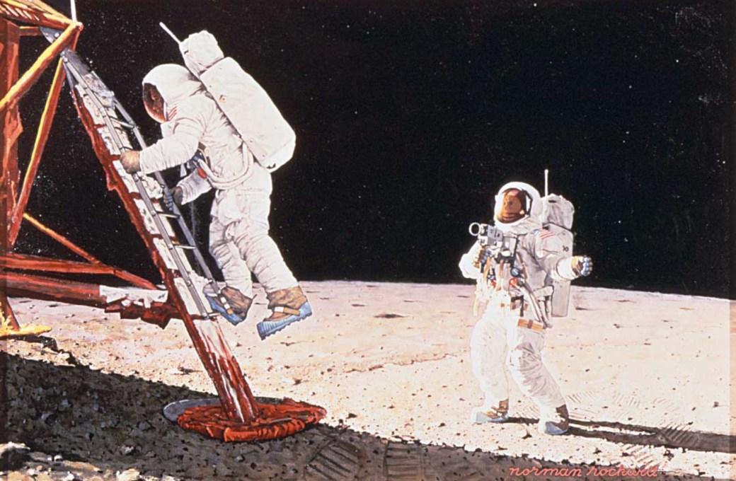 The Final Impossibility: Man's Tracks on the Moon (Two Men on the Moon) av Norman Rockwell