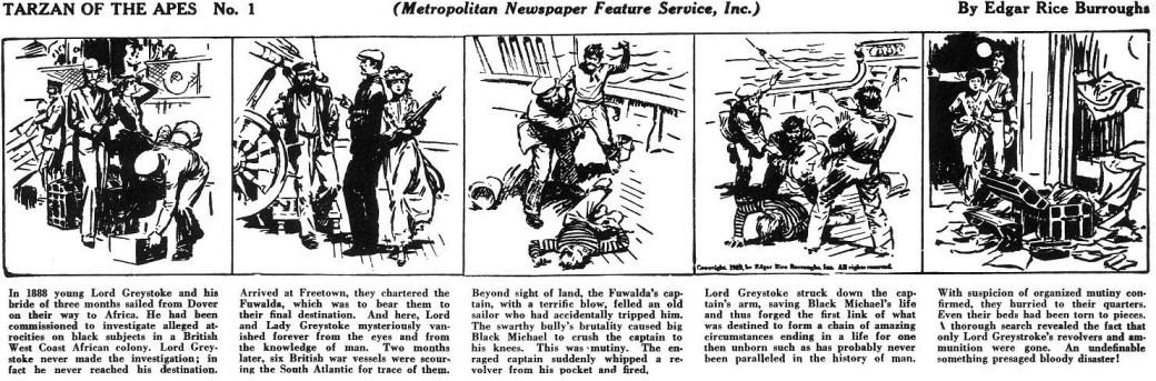 Första dagsstrippen av Tarzan, från 7 januari 1929