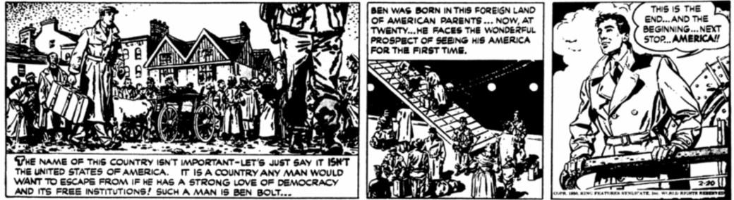 Första strippen av Big Ben Bolt från 20 februari 1950