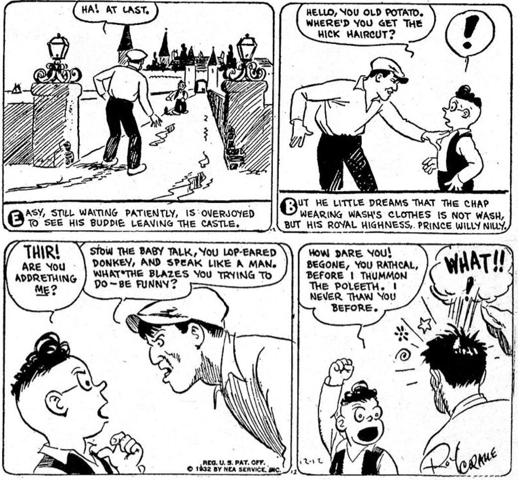 Wash Tubbs med Captain Easy från 12 december 1932. ©NEA