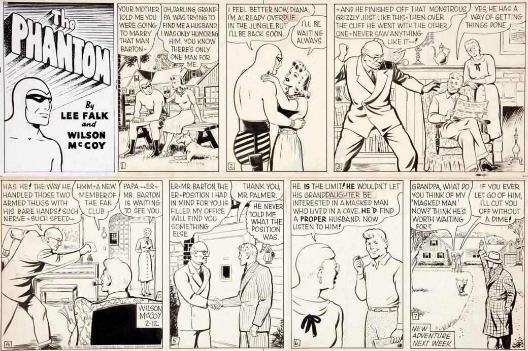 Ett original till en söndagssida från 12 februari 1956