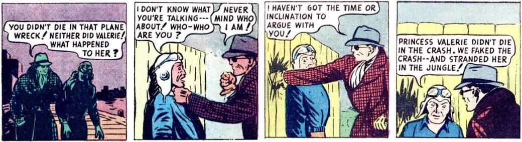 En dagsstripp med Fantomen i civila kläder, från 4 april 1946, färglagd för serietidningen Harvey Hits #1